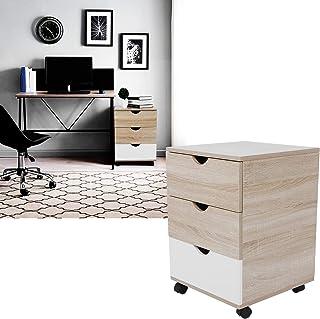 Ejoyous Caisson de Bureau Mobile, Mode Moderne Table de Chevet 3 Niveaux, Caisson de Rangement Mobile pour Documents et Do...