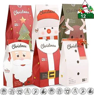 Amosfun Santa Claus Gift Bags Christmas Snowman Candy Bag Christmas Stocking Xmas Gift Bag Treat Candy Bag Christmas Tree Hanging Pendant 6PCS
