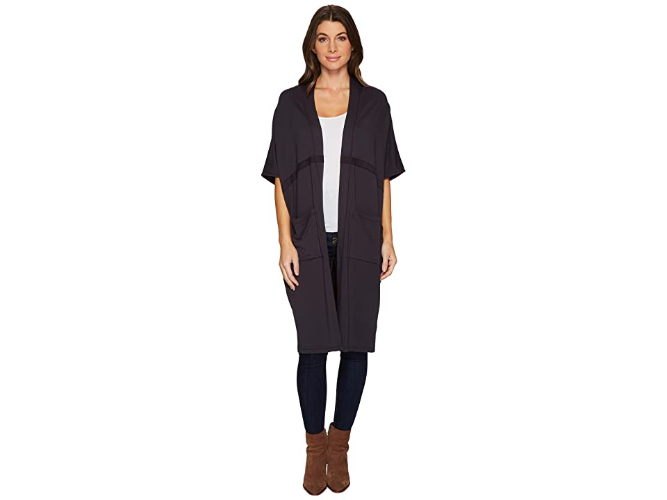 Mod-o-doc Cotton Modal Spandex French Terry Seamed Cocoon Cardigan (Carbon) Women
