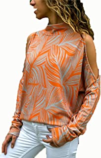 Sexy Cold Shoulder Sweatshirt for Women High Neck Top Cut Out Shoulder Pullovers Blouse Shirts Shirts Tee (Color : Orange,...
