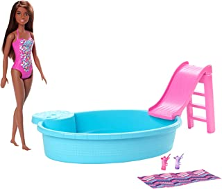 Barbie Doll, 11.5-inch Brunette, and Pool Playset with Slide and Accessories, Gift for 3 to 7 Year Olds