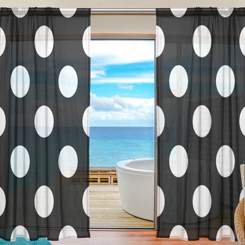 Vantaso Sheer Curtains 78 inch White Polka Dot Black Background for Kids Girls Bedroom Living Room Window Decorative 2 Panels