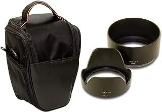 F-Foto Nikon 一眼レフ D3400/D5600/D5300 AF-P ダブルズーム キット に適合 HB-N106 & HB-77 互換フード 2個 と 一眼カメラケース のセット (衝撃吸収 セミハードケース ブラック)H10677_CASE (フード&ケース)