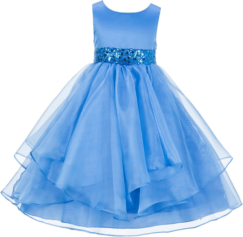 ekidsbridal Asymmetric Ruffled Organza Sequin Flower Girl Dress Princess Dresses 012S 4
