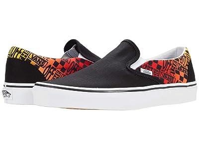 Vans Classic Slip-On ((Logo Flame) Black/True White) Skate Shoes