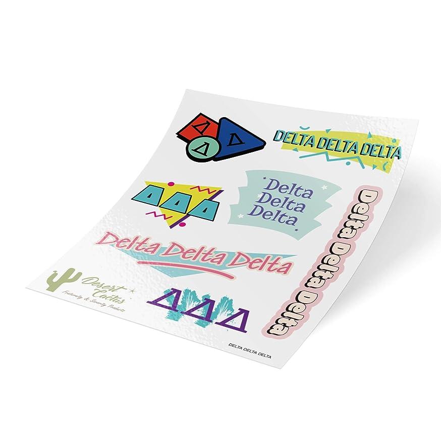 Delta Delta Delta 90's Themed Sticker Sheet Decal Laptop Water Bottle Car tri Delta (Full Sheet - 90's) bh02744014