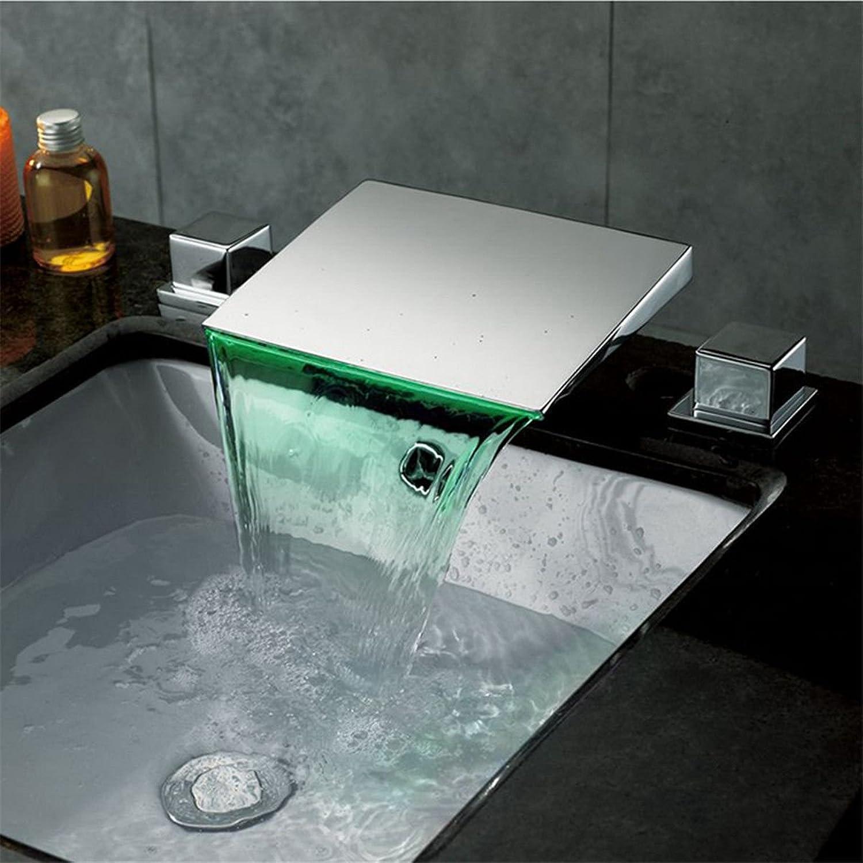 LHbox Moderne verchromtes Messing LED Desktop Wasserfall mit Warmen und Kalten Mischventil WC Waschbecken 3-Teilige Badezimmer Waschbecken Waschtisch Armatur