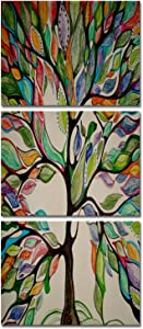 Abstract Tree of Life Canvas Painting Vintage Giclee Print Brown Artwork Landscape Wall Art Modern Home Decor Stretched and Framed for Living Room Bedroom Office Decoration 12x16inchx3pcs