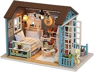 (moin moin) ドールハウス ミニチュア 手作りキット セット ドールハウス ミニチュア 手作りキットセット 犬と暮らす部屋 LEDライト + アクリルケース付属 ( カフェスタイル )