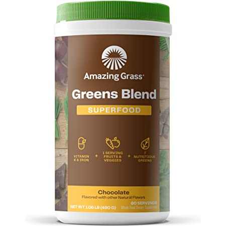 Amazing Grass Greens Blend Superfood: Super Greens Powder with Spirulina, Chlorella, Beet Root Powder, Digestive Enzymes & Probiotics, Chocolate, 60 Servings (Packaging May Vary)