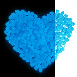 Glow Rocks, 480pcs Glowing in The Dark Stones in Blue for Outdoor Garden Backyard Decor, Luminous Pebbles for Fish Tank Concrete Walkway, DIY Decorative, Powered by Light and Solar