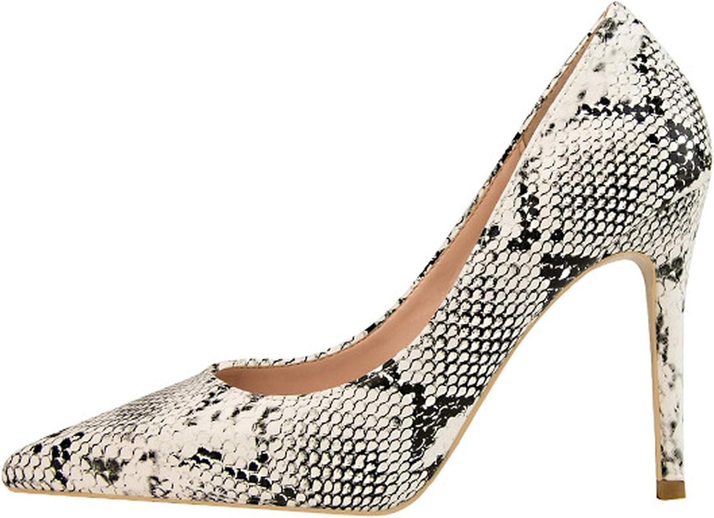 Milk Maniac Woman High Heel Pumps Ladies Pointed Toe Thin Heel shoes Women Snake Print PU Leather Pencil Heel