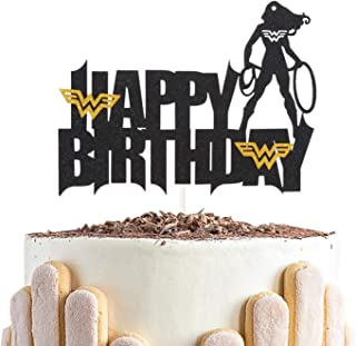 Black Wonder Women Silhouette Happy Birthday Cake Topper - for Birthday Theme Party Decoration Supplies - Double Sided Gli...