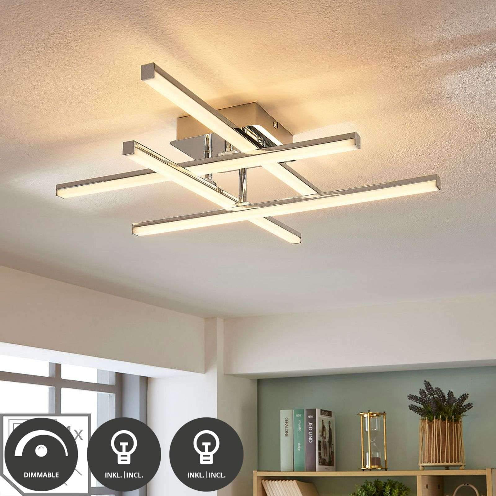 Lindby Moderno Plafón moderno cromo con LED regulable - Korona  Acero/Plástico Otros Incluye LED Max. 19 x 19 Watt