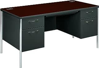 HON 88962NS Mentor Series Double Pedestal Desk 60w x 30d x 29-1/2h Mahogany/Charcoal