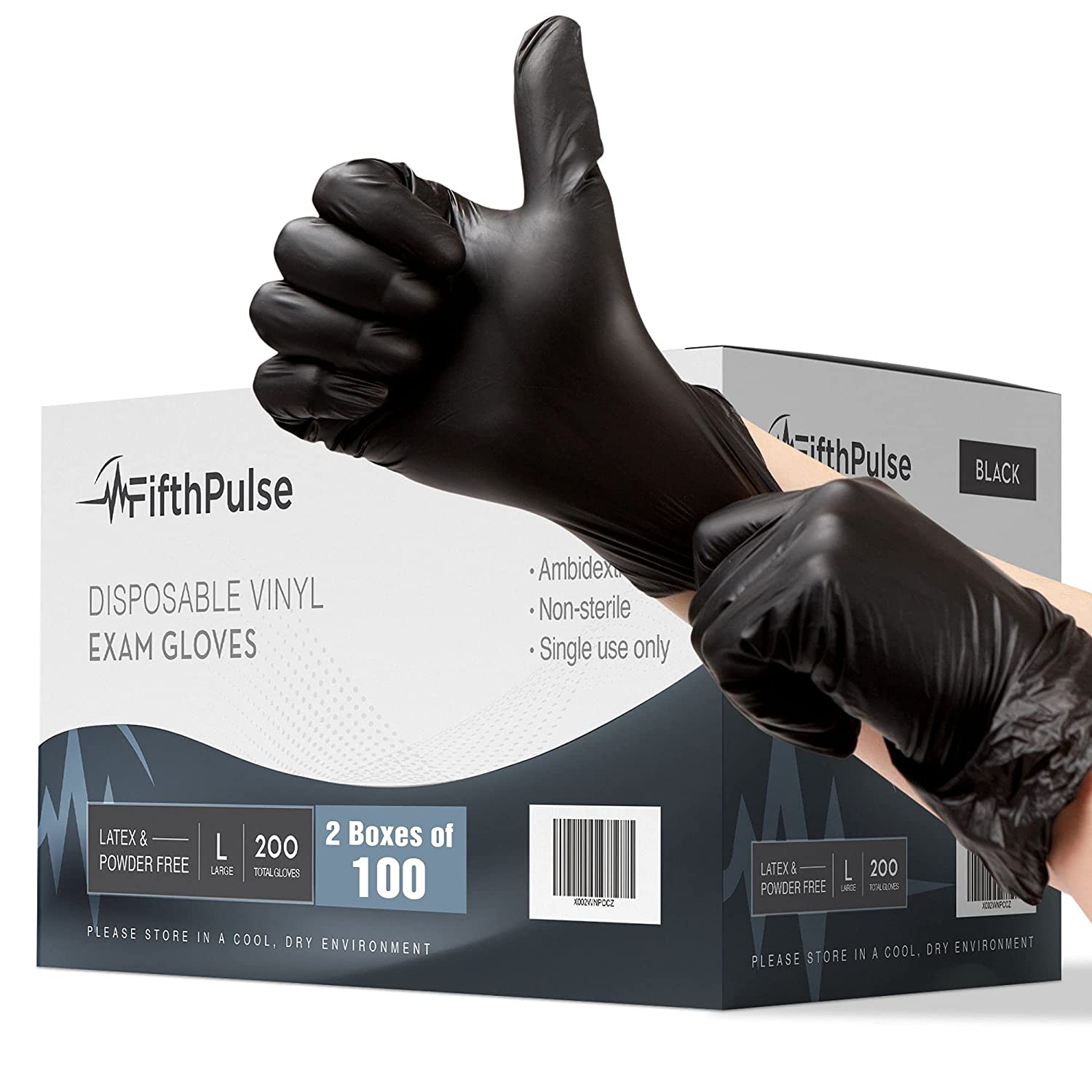 Black Vinyl Disposable Gloves Large 200 Pack - Latex Free, Powder Free Medical Exam Gloves - Surgical, Home, Cleaning, and Food Gloves - 3 Mil Thickness - 2 Boxes of 100