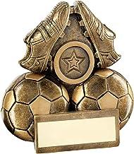 Lapal Dimension Brz/Goud Twee Voetballen En Laarzen Flatback Trofee (2,5 cm Centrum) - 7,6 cm