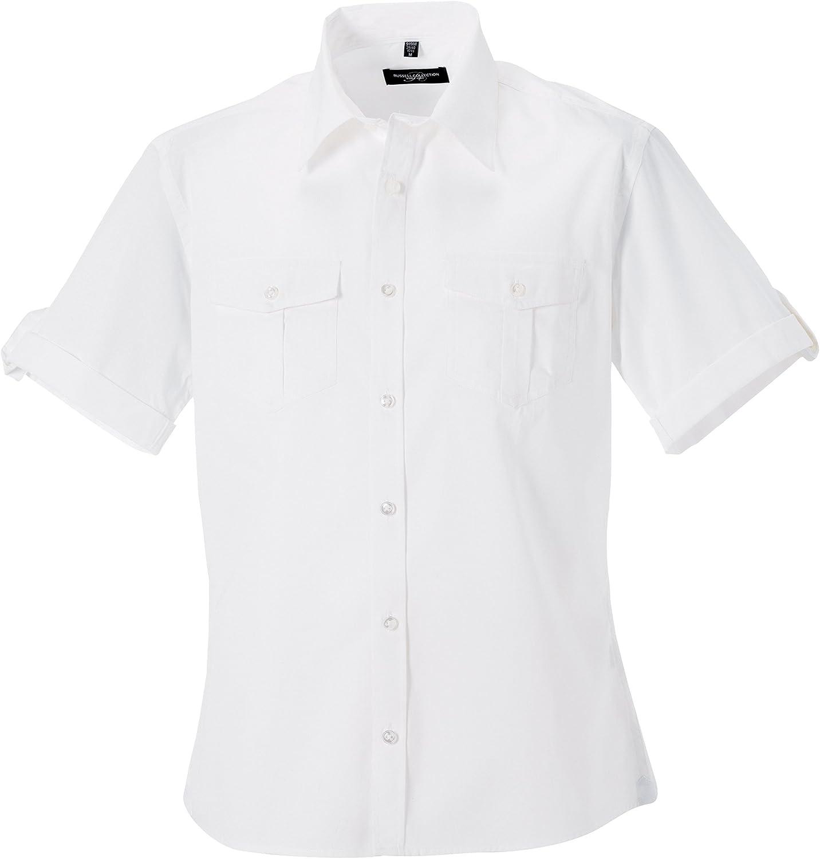 Russell Collection - Camisa de Manga Corta remangada para Trabajar Hombre Mujer - Trabajo/Fiesta/Verano