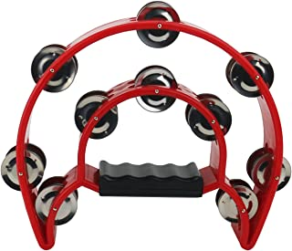 Ogrmar Double Row Handled Tambourine Metal Jingles Hand Held Percussion Drum with Ergonomic Handle Grip for Gift KTV/Party...