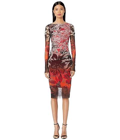 FUZZI Long Sleeve Printed Rushed Dress is Degrade Print (Rubino) Women