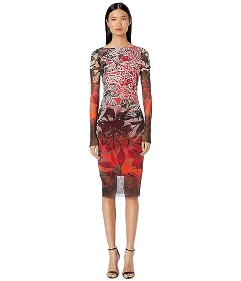FUZZI Long Sleeve Printed Rushed Dress is Degrade Print