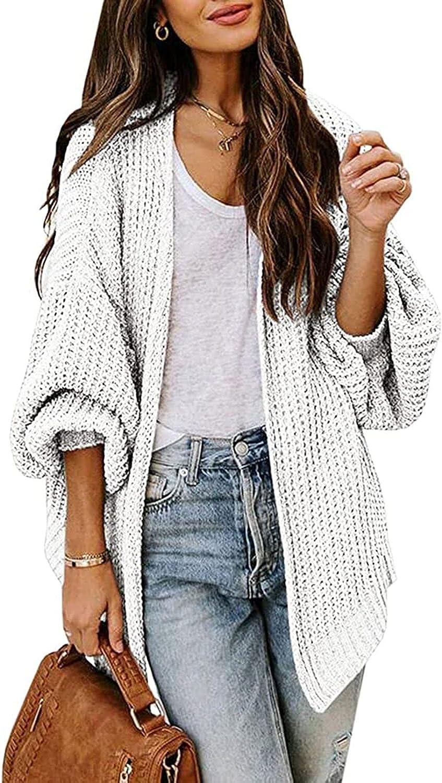 VamJump Womens Open Front Cardigan Sweater Casual Balloon Sleeve Loose Knit Outwear