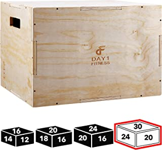 Wood Plyometric Box by Day 1 Fitness - 4 SIZE OPTIONS (16x14x12, 20x18x16, 24x20x16, OR 30x24x20) - 3-in-1, for Crossfit Training, Jumps - Heavy-Duty, Non-Slip Plyo Boxes, Rounded Corners for Safety