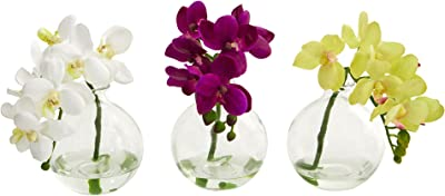 """Nearly Natural Artificial (Set of 3) 9"""" Phalaenopsis Orchid Arrangement in Vase, Multi/Color, 3 Piece"""