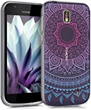 kwmobile Clear Case Compatible with Nokia 1 - TPU Smartphone Backcover - Indian Sun Blue/Dark Pink/Transparent