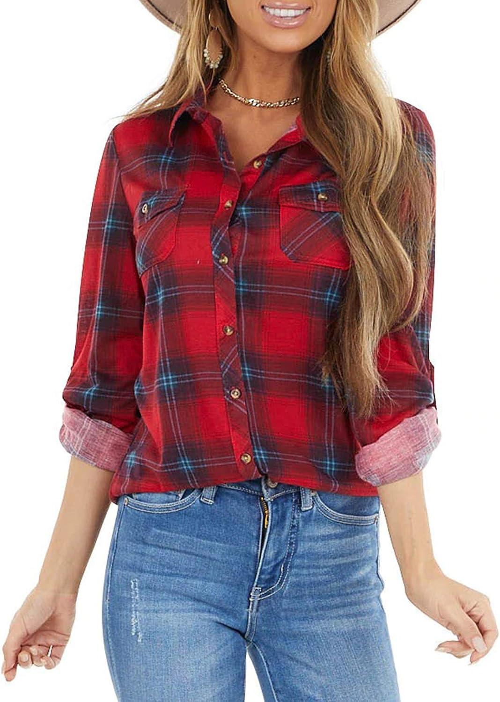 Eytino Women Classic Plaid Button Shirts Roll Up Long Sleeve Pockets Casual Boyfriend Shirts Tops(S-XXL)