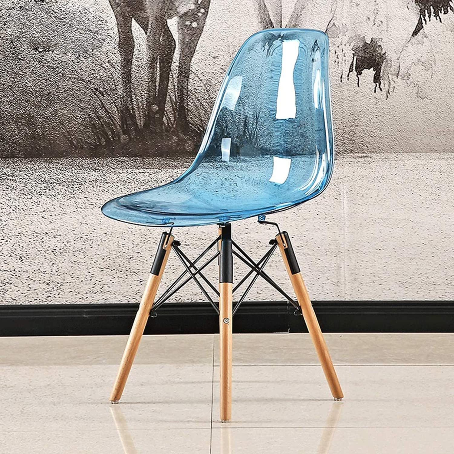 Zcxbhd Transparent Chair Retro Nordic Dinette Fashion Comfy Seat Creative Solid Beech Wooden Legs PC Plastic Stool (color   Transparent bluee)