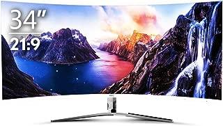 HKC ゲーミング モニター 34インチ 4K ウルトラ ワイド VA 曲面 21:9 R1800 4MS/100HZ/FreeSync/DVI/HDMI/DP ビジネス系