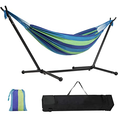 Kanchimi Hammock with Stand,Max Load 550lbs,Portable Double Hammock for Para Patio,Indoor Outdoor Hammock with Stand 2 Person Heavy Duty,Premium Carrying Case Included(Rainbow)