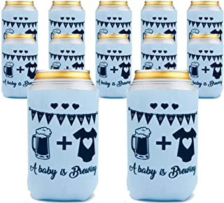 Baby Shower, Gender Reveal Party,Diaper Party, BabyQ,A,Baby is Brewing, Can and beer bottle Cooler,Neoprene Coolies,Set of 12