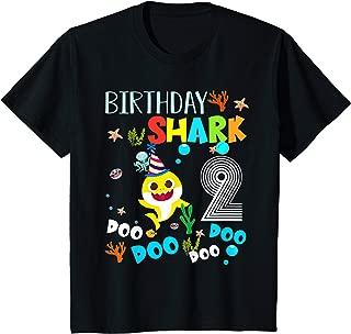 Kids Kids Baby Shark 2 Years Old 2Nd Birthday Doo Doo T-Shirt