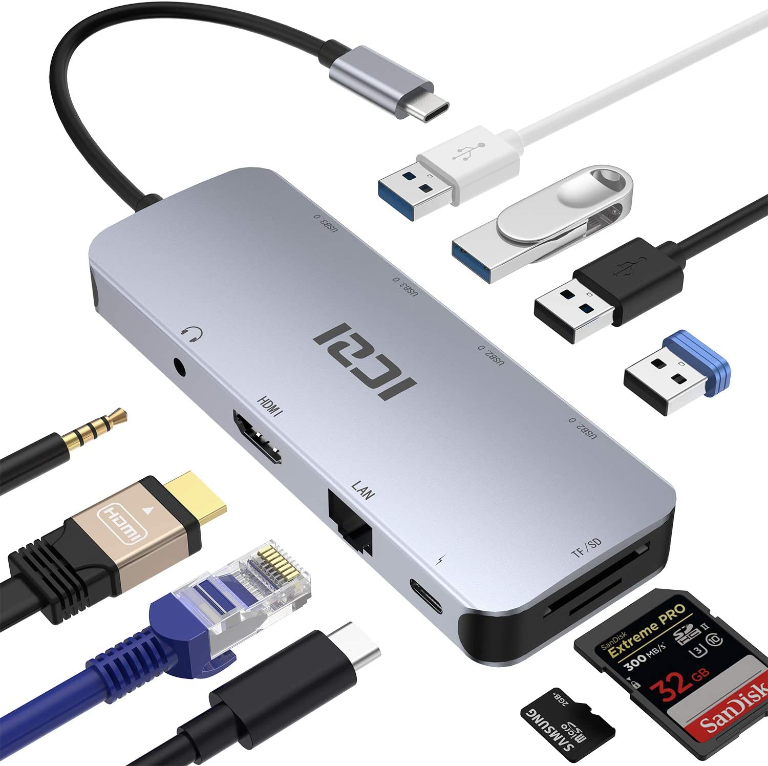 USB C HUB, ICZI 10 in 1 USB Type C to HDMI Audio Converter Dongle, RJ-45 Ethernet, USB 3.0 Type A Ports, SD/TF Slots for MacBook Pro 2018 and Samsung Dex Mode- Aluminum Body