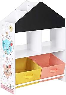 SONGMICS Meuble Enfant, Organisateur Jouets et Livres, Étagère de Rangement avec Tableau Noir, avec boîtes, étagères, pour...