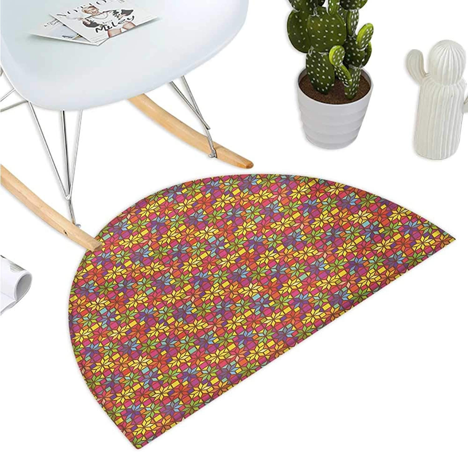 colorful Semicircular Cushion Stained Glass Style Pattern with Flower Motifs Geometrical Star Shapes Mosaic Tile Entry Door Mat H 35.4  xD 53.1  Multicolor