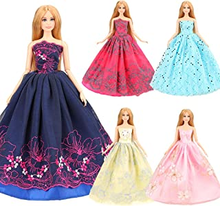 BARWA 5 Pcs Handmade Doll Clothes Wedding Gowns Party Dresses for 11.5 inch Dolls (B: 5 Pcs Dresses)