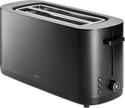 """Zwilling Enfinigy Cool Touch 2 Long Slot Toaster, 4 Slices with Extra Wide 1.5"""" Slots for Bagels, 7 Toast Settings, Even Toasting, Reheat, Cancel, Defrost, Black"""