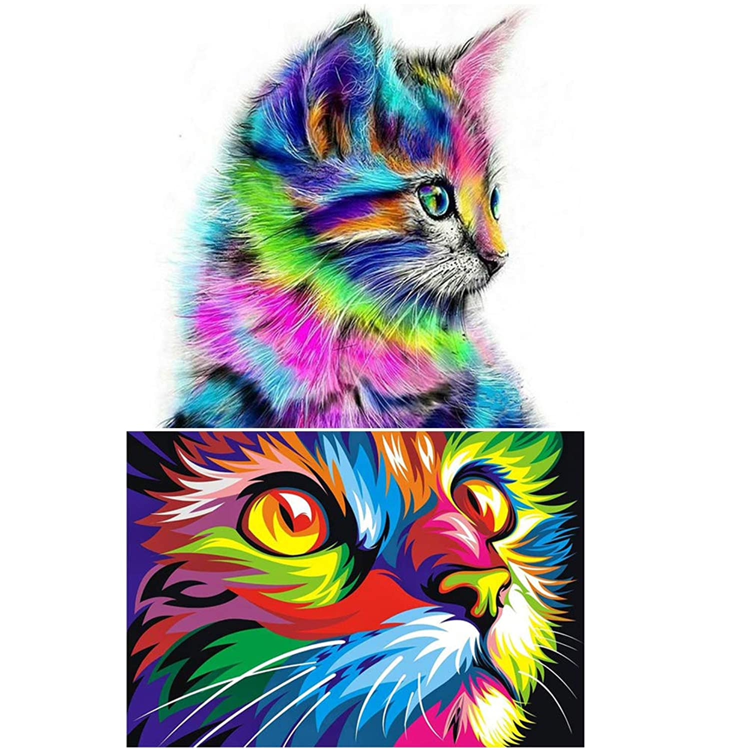 2Pack 5D Diamond Painting Kits Full Drill Diamond Embroidery (Cat)