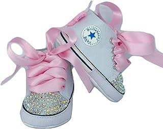 d8a15caec BrillaBenny Scarpine Scarpe Strass Bimba Neonato 0-3 Mesi Bianche/Baby Shoes  White Birthday