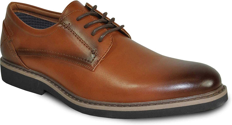 VANGELO Men Dress Shoe Vallo-1 Oxford Formal Tuxedo for Prom Wedding Plain Toe Ortholite Insole Brown Medium and Wide Width