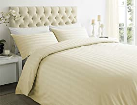Urban Space - Regal 210 TC Cotton Mercerized and Anti Microbial King Size Bedsheet with 2 Pillow Covers, Sateen Stripes Ivory