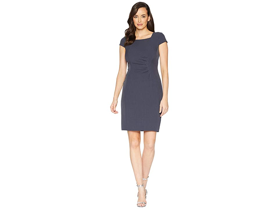 Tahari by ASL Boat Neck Sheath with Side Ruched Detail (Pewter Grey) Women