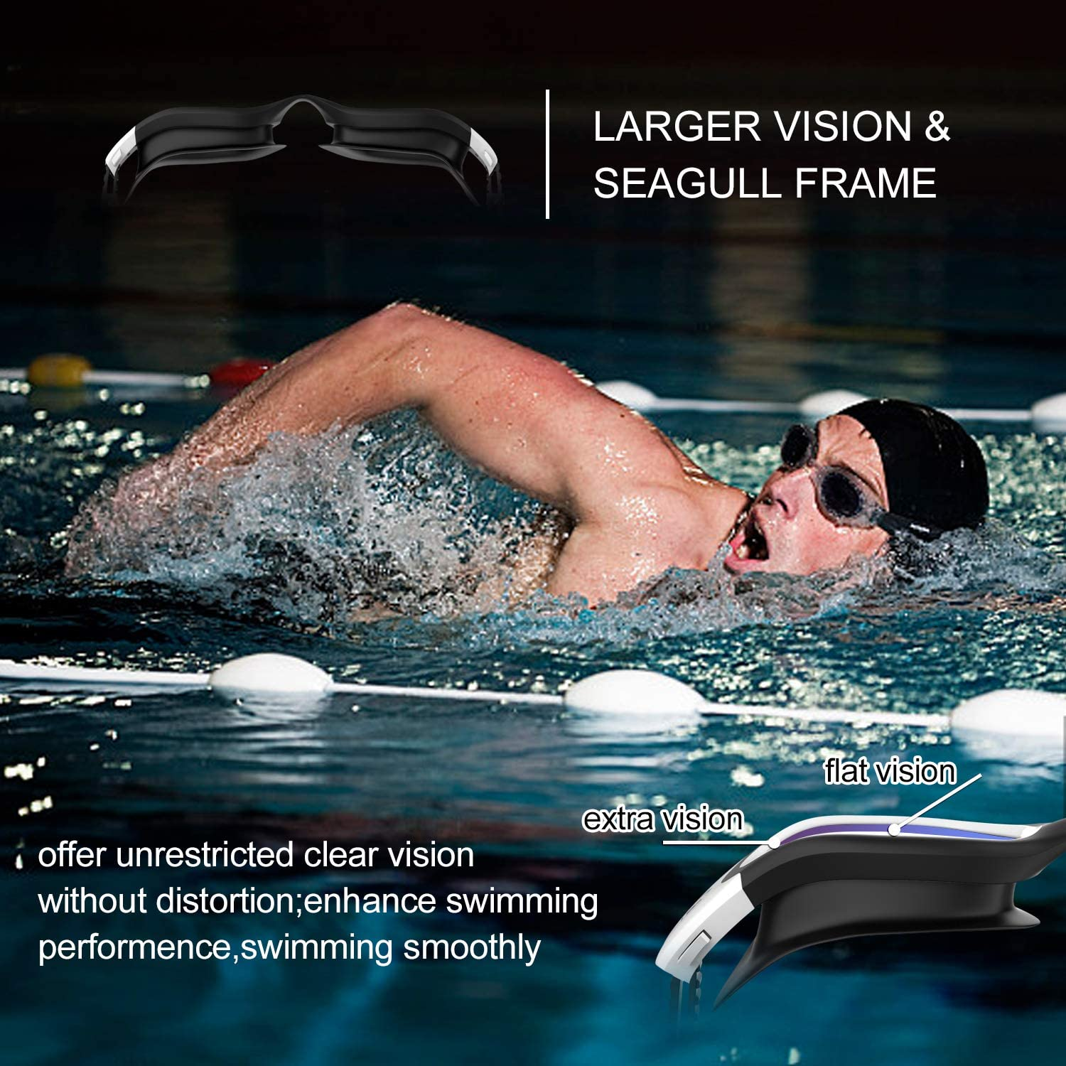 Polarized Swimming Goggles Swim Goggles Anti Fog Anti UV No Leakage Clear Vision for Men Women Adults Teenagers