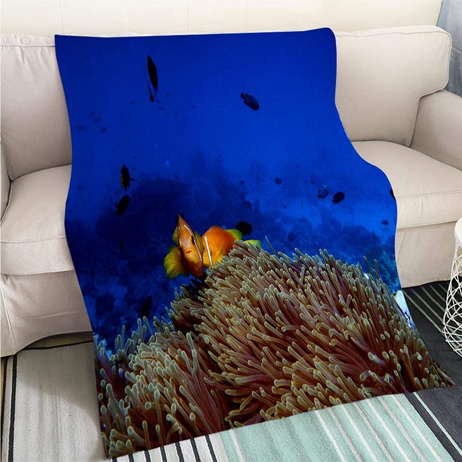 Home Digital Printing Thicken Blanket Clown Fish in Anemone Perfect for Couch Sofa or Bed Cool Quilt