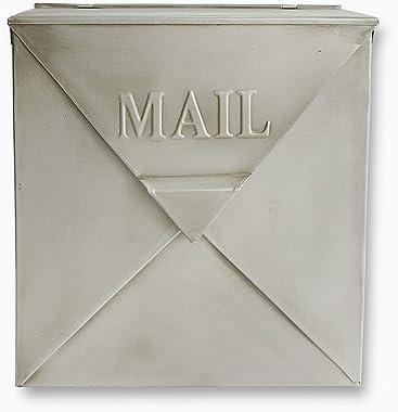 NACH MB-6635SL Rockford Mailbox, Antique Silver Finish - Wall Mounted Post Box, 10 x 4 x 10 inch