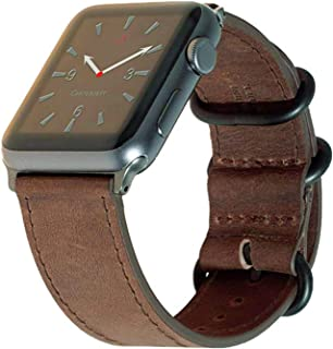 Carterjett Compatible with Apple Watch Band Leather XL 42mm 44mm iWatch Band Replacement Strap Extra Large Crazy Horse Gray NATO Hardware for Series 1 2 3 4 (42 44 XL XXL Vintage Brown)