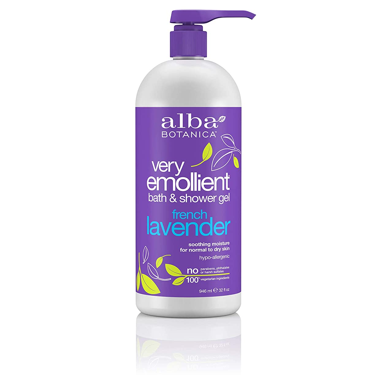 絶縁する重さ工場Alba Botanica, Very Emollient, Bath & Shower Gel, French Lavender, 32 fl oz (950 ml)